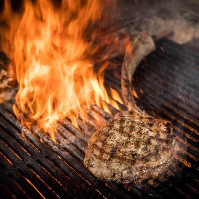 Steak searing on grill